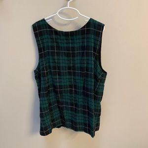 C.Luce Green and Black Sleeveless Shirt